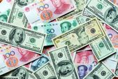 USD and RMB bank notes — Stock Photo