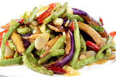 Chinese Food: Fried eggplant slices with beans — Stock Photo