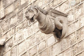 石像鬼雕像上的哥特式大教堂 — 图库照片