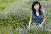 Beautiful Brunette Girl With Blue Dress — Stock Photo
