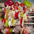 Stock Photo: Skewers with fish and vegetables