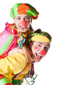 Two smiling clowns — Stock Photo