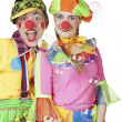 Clowns in the soap bubbles — Stock Photo