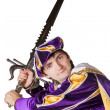 Actor in a suit of the prince with a sword — Stock Photo