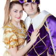 Guy and girl dressup as Prince and Princess isolated on a white — Stock Photo