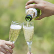 Champagne poured in to the glasses — Stock Photo #20014839