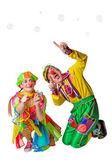 Dva veselí klauni v mýdlové bubliny — Stock fotografie