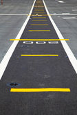 Small runway on the deck of aircraft carrier — Stock Photo
