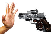 Hand With Gun Stained With Engine Oil Pointing To Empty Hand — Stock Photo