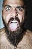 Hombre con barba con expresiones de miedo — Foto de Stock