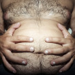 Stock Photo: Belly fat and hairy man