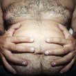 Belly fat and hairy man — Stock Photo #12722349