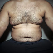 Belly fat and hairy man — Stock Photo