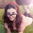 Girl with big glasses at the park — Photo