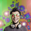 Crazy guy with headphones — Stock Photo