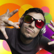 Stock Photo: Crazy guy with headphones