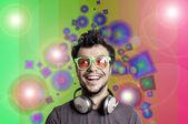 Crazy guy with headphones — Stock Photo