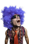 Crazy guy with sunglasses and blue wig — Stock Photo
