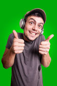 Funny guy listening to music — Stock Photo
