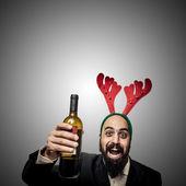 Opilý moderní elegantní santa claus babbo natale — Stock fotografie