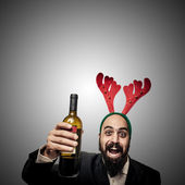 Drunk modern elegant santa claus babbo natale — Stock Photo