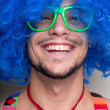 Funny guy naked with blue wig and red tie - Lizenzfreies Foto