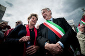 Pisapia and Camusso at celebration of liberation — Stock Photo