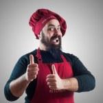 Happy bearded chubby chef — Stock Photo #19223507