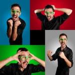 Set of screaming guy — Stock Photo