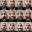 Set of bearded man expressions — Foto Stock