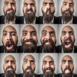 Set of bearded man expressions — Stockfoto