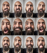 Set of bearded man expressions — Stock Photo