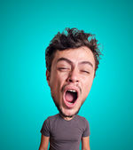 Puppet yawning man with big head — Stock Photo