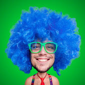 Funny carnival puppet man with big head — Stock Photo