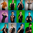 Set of men with different expressions - 图库照片
