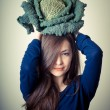 Beautiful woman with savoy cabbage — Stock Photo