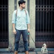 Stylish min street with jack russel — Stock Photo #24333287