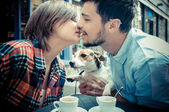 Couple at the bar with jack russell — Stock Photo