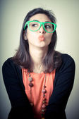 Beautiful fashion hipster girl — Stock Photo