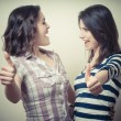 Two positive young women — Stock Photo