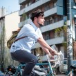 Hipster young mon bike — Stock Photo #25449511