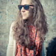 Eastern hipster vintage woman with shades — Stock Photo