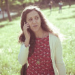 Hipster vintage woman on the phone — Stock Photo