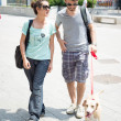 Couple with dog walking in the street — Stock Photo #27394731