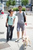 Casal com cachorro andando na rua — Fotografia Stock