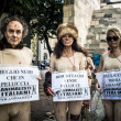 Animalisti Italiani protest against Milan Fashion Week on Septem — Foto de Stock