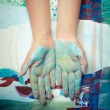 colorful painted hands — Stock Photo