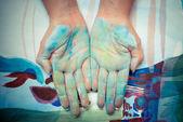 Barevné malované ruce — Stock fotografie
