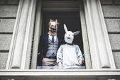 Horse man with rabbit woman — Stock Photo