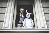 Horse man with rabbit woman — Stock Photo